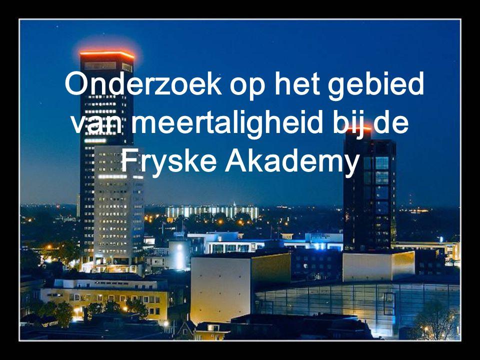 Onderzoek op het gebied van meertaligheid bij de Fryske Akademy