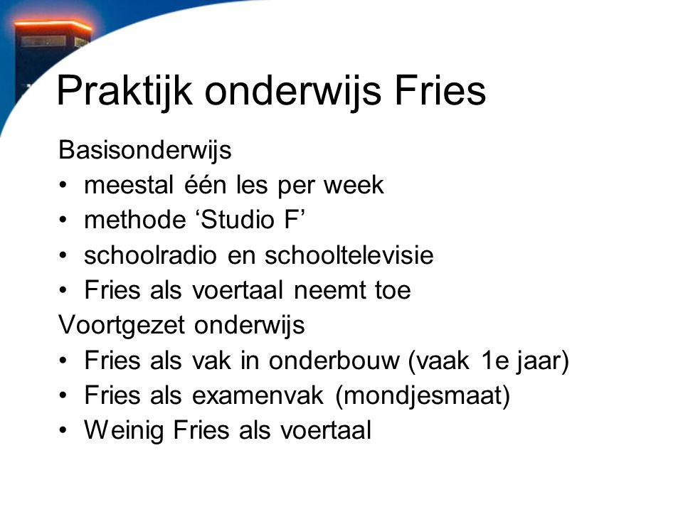 Praktijk onderwijs Fries Basisonderwijs meestal één les per week methode 'Studio F' schoolradio en schooltelevisie Fries als voertaal neemt toe Voortg