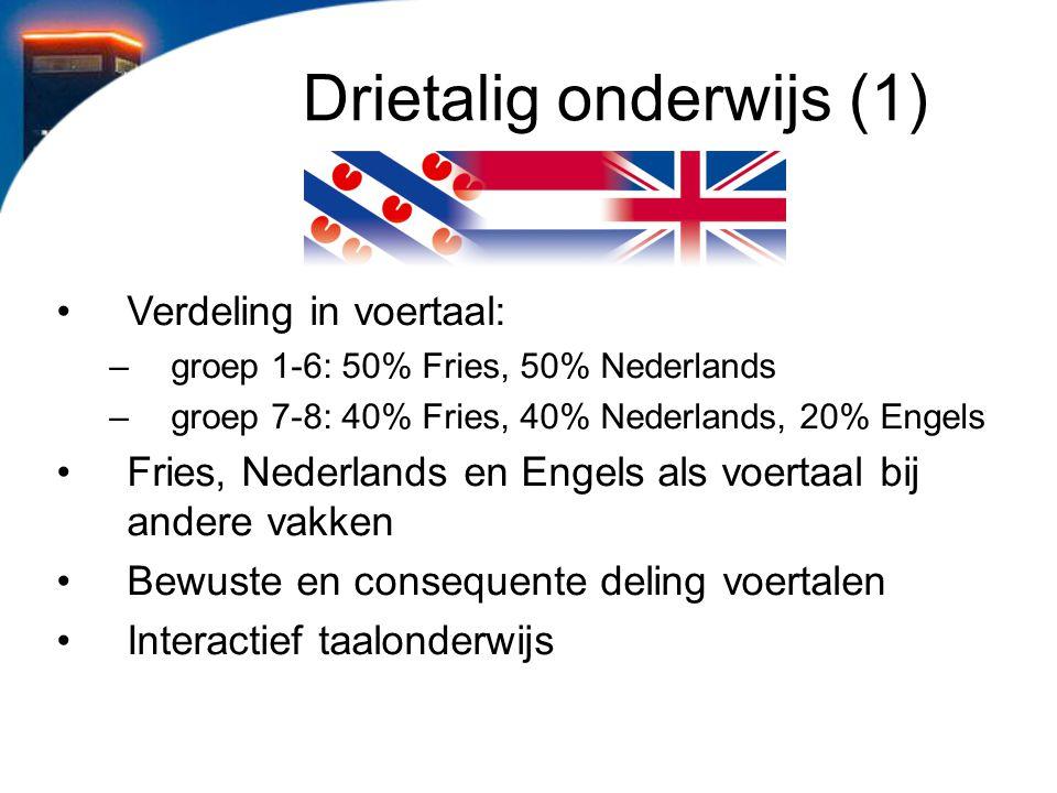 Drietalig onderwijs (1) Verdeling in voertaal: –groep 1-6: 50% Fries, 50% Nederlands –groep 7-8: 40% Fries, 40% Nederlands, 20% Engels Fries, Nederlan