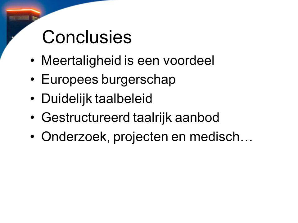 Conclusies Meertaligheid is een voordeel Europees burgerschap Duidelijk taalbeleid Gestructureerd taalrijk aanbod Onderzoek, projecten en medisch…