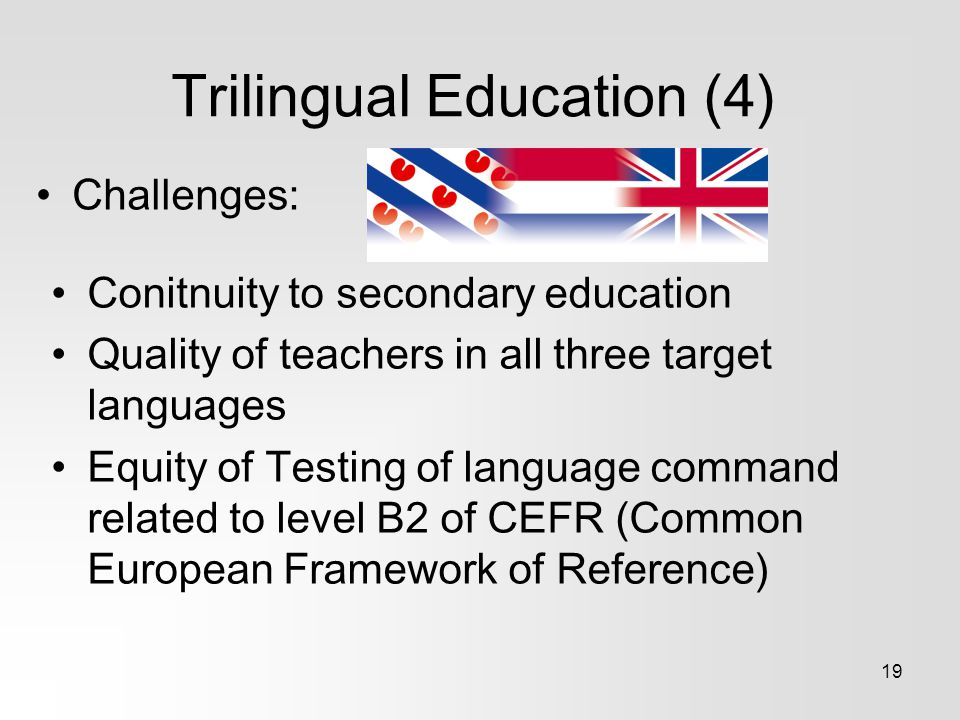 Trilingual Education (4) Challenges: 19 Conitnuity to secondary education Quality of teachers in all three target languages Equity of Testing of langu