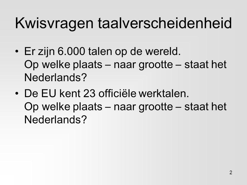 Kwisvragen taalverscheidenheid Er zijn 6.000 talen op de wereld. Op welke plaats – naar grootte – staat het Nederlands? De EU kent 23 officiële werkta