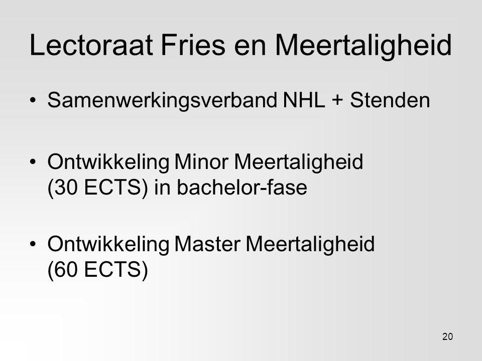 Lectoraat Fries en Meertaligheid Samenwerkingsverband NHL + Stenden Ontwikkeling Minor Meertaligheid (30 ECTS) in bachelor-fase Ontwikkeling Master Me
