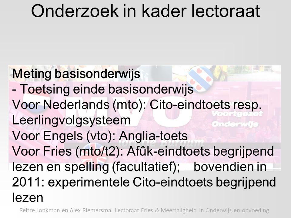 Onderzoek in kader lectoraat Reitze Jonkman en Alex Riemersma Lectoraat Fries & Meertaligheid in Onderwijs en opvoeding Meting basisonderwijs - Toetsi