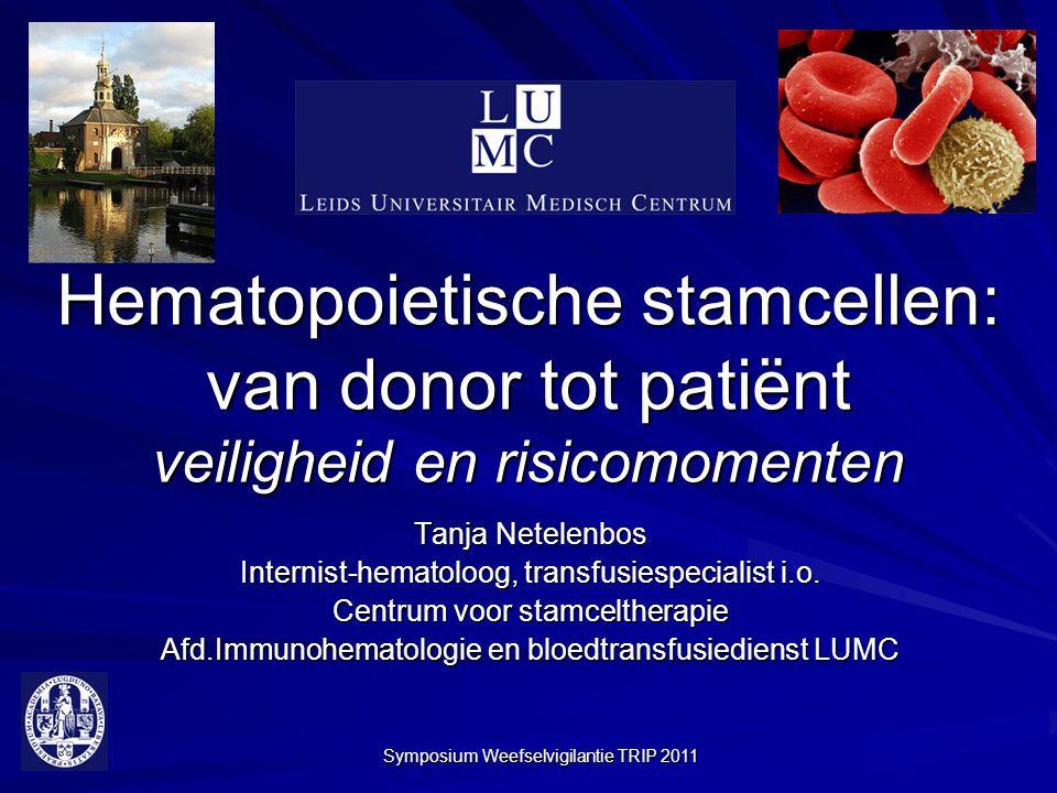 Symposium Weefselvigilantie TRIP 2011 Hematopoietische stamcellen: van donor tot patiënt veiligheid en risicomomenten Tanja Netelenbos Internist-hemat
