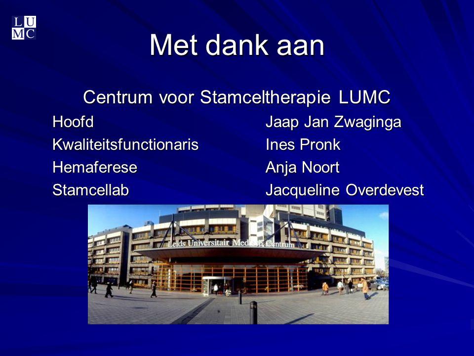 Met dank aan Centrum voor Stamceltherapie LUMC HoofdJaap Jan Zwaginga KwaliteitsfunctionarisInes Pronk HemafereseAnja Noort StamcellabJacqueline Overd