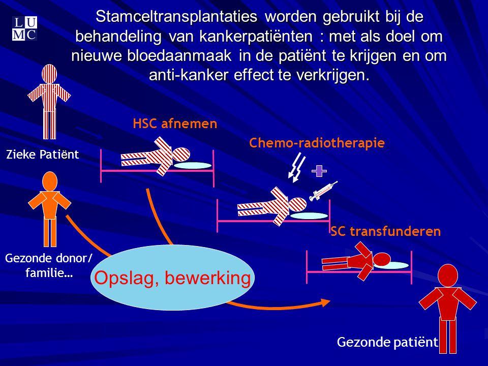 Stamceltransplantaties worden gebruikt bij de behandeling van kankerpatiënten : met als doel om nieuwe bloedaanmaak in de patiënt te krijgen en om ant