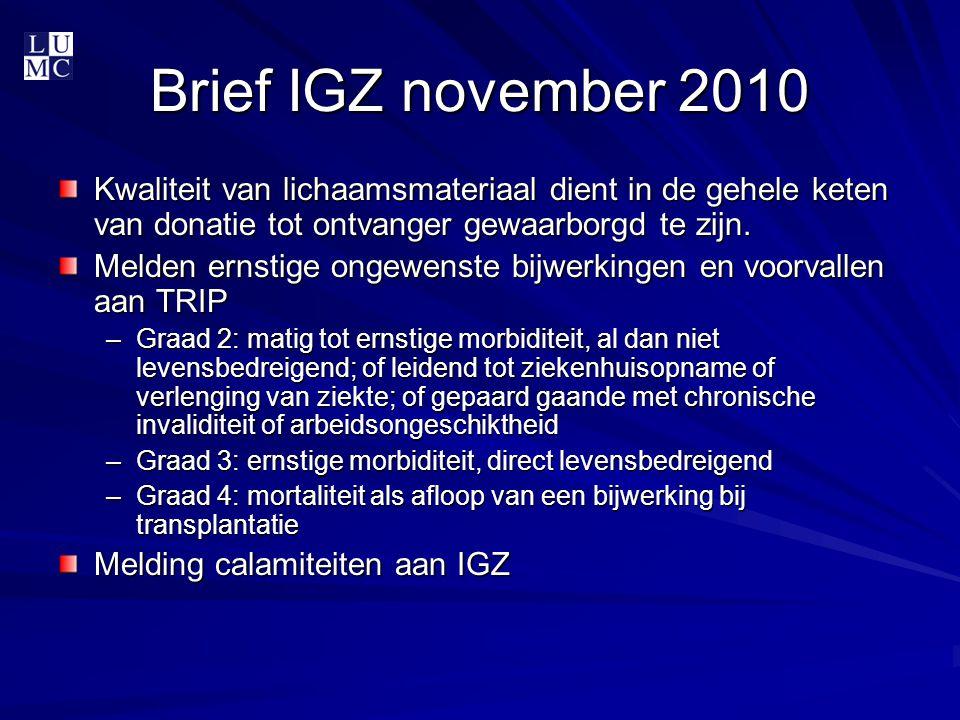 Brief IGZ november 2010 Kwaliteit van lichaamsmateriaal dient in de gehele keten van donatie tot ontvanger gewaarborgd te zijn. Melden ernstige ongewe