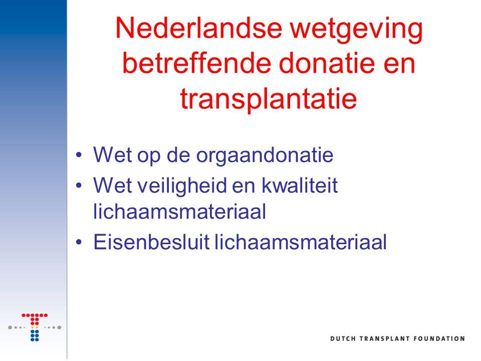 Nederlandse wetgeving betreffende donatie en transplantatie Wet op de orgaandonatie Wet veiligheid en kwaliteit lichaamsmateriaal Eisenbesluit lichaam