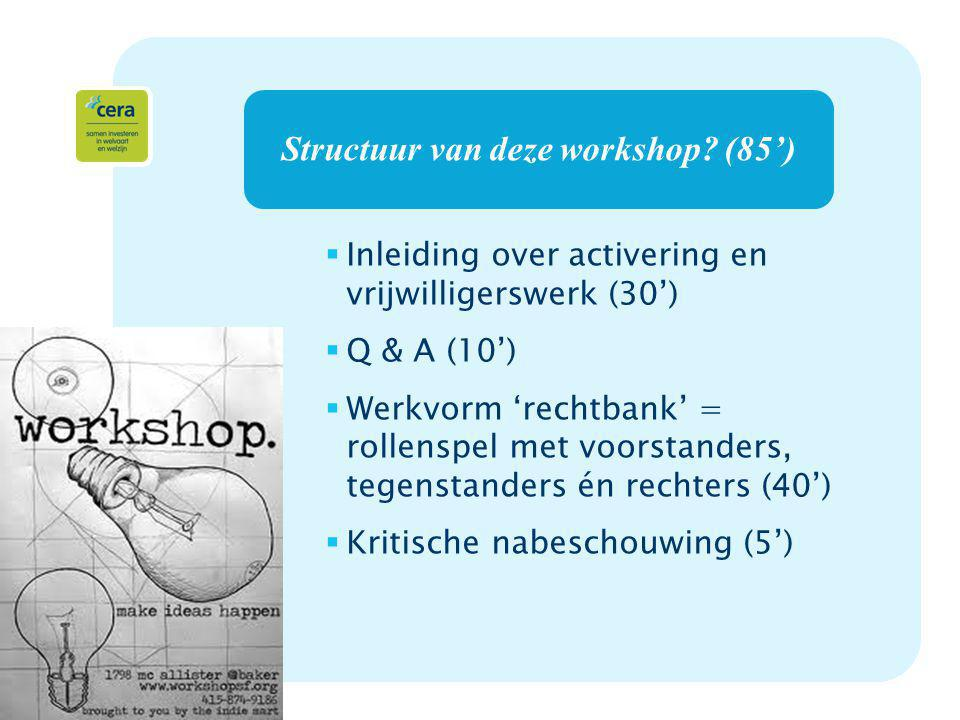 2 Structuur van deze workshop? (85')  Inleiding over activering en vrijwilligerswerk (30')  Q & A (10')  Werkvorm 'rechtbank' = rollenspel met voor