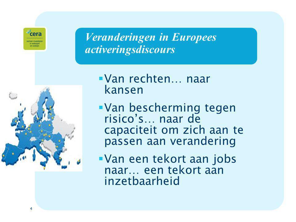 4 Veranderingen in Europees activeringsdiscours  Van rechten… naar kansen  Van bescherming tegen risico's… naar de capaciteit om zich aan te passen aan verandering  Van een tekort aan jobs naar… een tekort aan inzetbaarheid