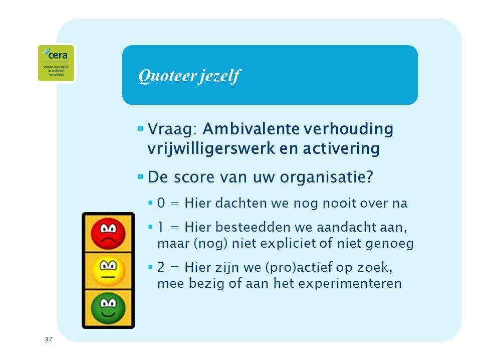 37 Quoteer jezelf  Vraag: Ambivalente verhouding vrijwilligerswerk en activering  De score van uw organisatie.