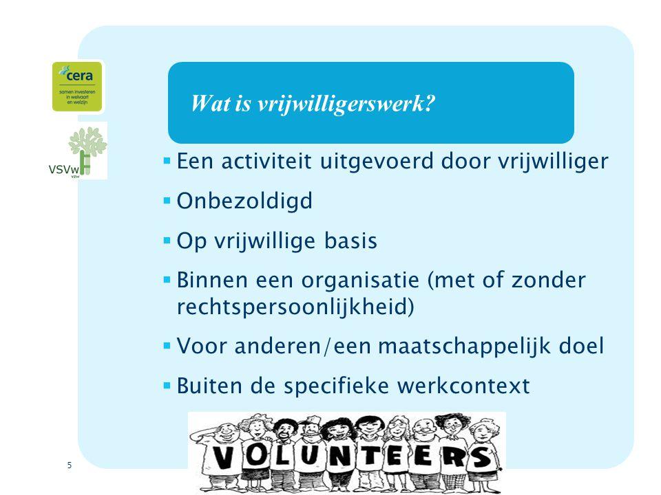 6 De vrijwilligerswet (sinds 03/07/2005)  Om vrijwilligers & organisaties te beschermen.