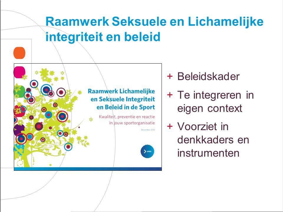 Raamwerk Seksuele en Lichamelijke integriteit en beleid +Beleidskader +Te integreren in eigen context +Voorziet in denkkaders en instrumenten