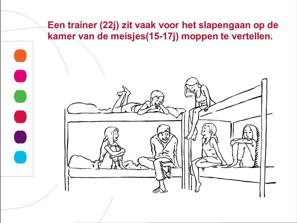 Een trainer (22j) zit vaak voor het slapengaan op de kamer van de meisjes(15-17j) moppen te vertellen.