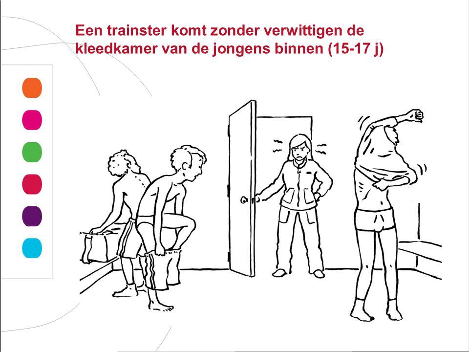 Een trainster komt zonder verwittigen de kleedkamer van de jongens binnen (15-17 j)