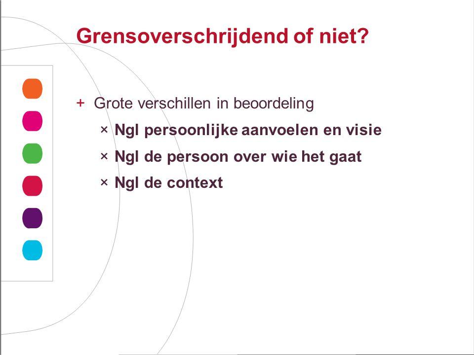 Grensoverschrijdend of niet? +Grote verschillen in beoordeling ×Ngl persoonlijke aanvoelen en visie ×Ngl de persoon over wie het gaat ×Ngl de context