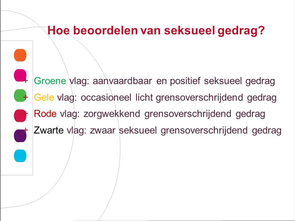Hoe beoordelen van seksueel gedrag? +Groene vlag: aanvaardbaar en positief seksueel gedrag +Gele vlag: occasioneel licht grensoverschrijdend gedrag +R