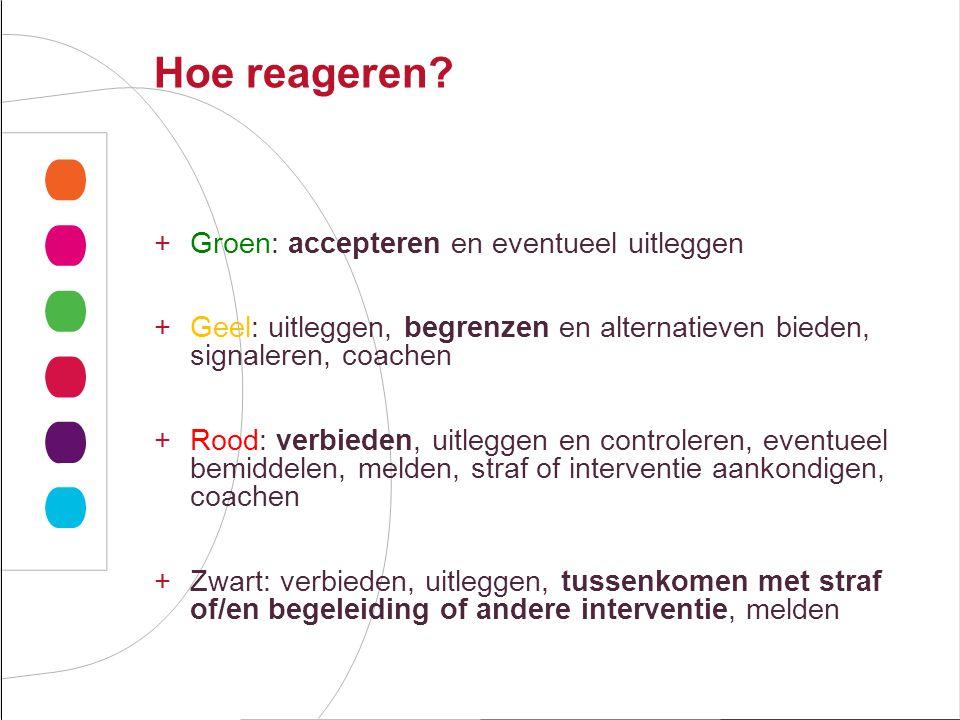 Hoe reageren? +Groen: accepteren en eventueel uitleggen +Geel: uitleggen, begrenzen en alternatieven bieden, signaleren, coachen +Rood: verbieden, uit