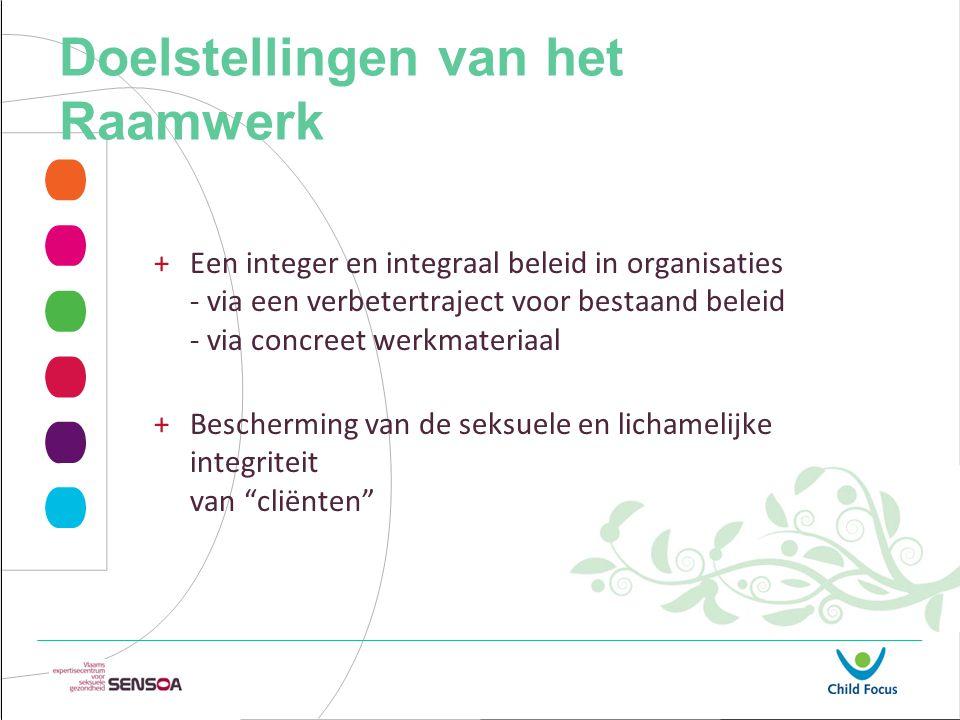 Doelstellingen van het Raamwerk +Een integer en integraal beleid in organisaties - via een verbetertraject voor bestaand beleid - via concreet werkmateriaal +Bescherming van de seksuele en lichamelijke integriteit van cliënten