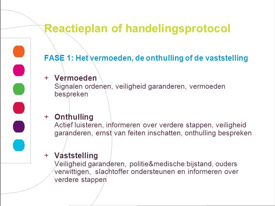 Reactieplan of handelingsprotocol FASE 1: Het vermoeden, de onthulling of de vaststelling +Vermoeden Signalen ordenen, veiligheid garanderen, vermoede