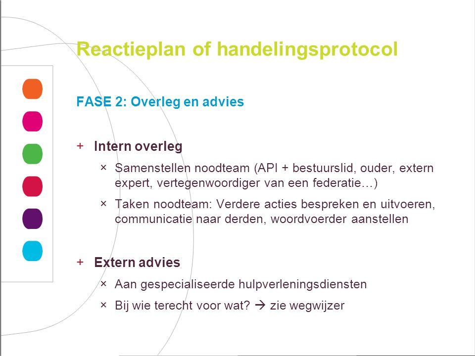 Reactieplan of handelingsprotocol FASE 2: Overleg en advies +Intern overleg ×Samenstellen noodteam (API + bestuurslid, ouder, extern expert, vertegenw