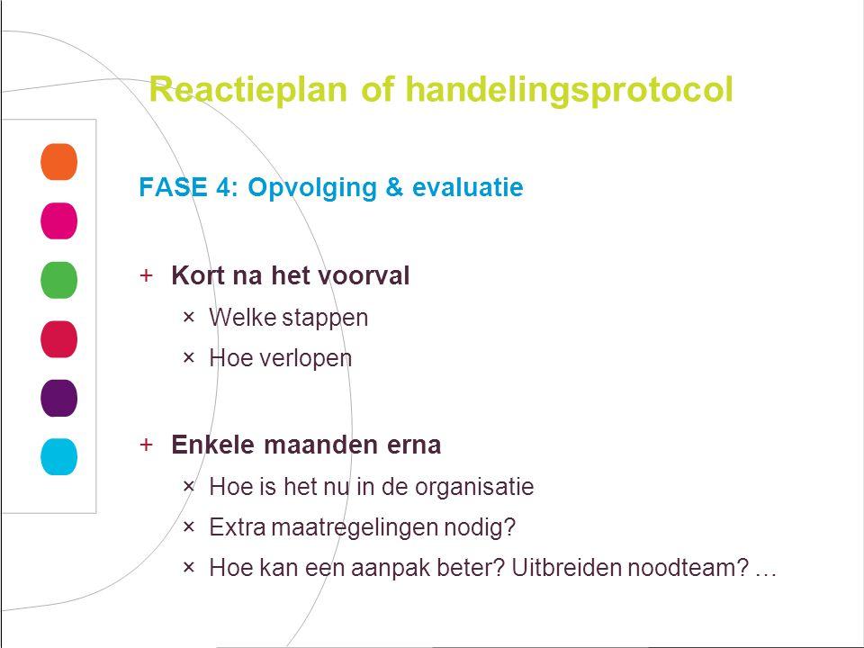 Reactieplan of handelingsprotocol FASE 4: Opvolging & evaluatie +Kort na het voorval ×Welke stappen ×Hoe verlopen +Enkele maanden erna ×Hoe is het nu in de organisatie ×Extra maatregelingen nodig.