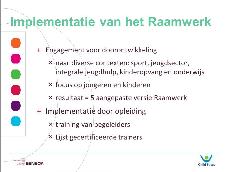 Implementatie van het Raamwerk +Engagement voor doorontwikkeling ×naar diverse contexten: sport, jeugdsector, integrale jeugdhulp, kinderopvang en ond