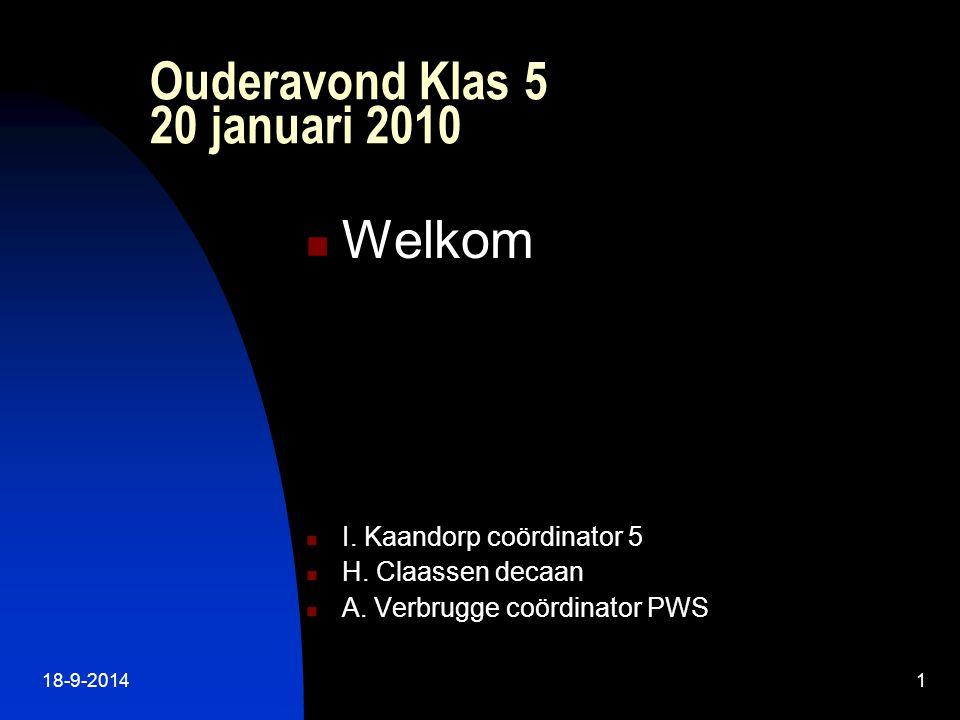18-9-20141 Ouderavond Klas 5 20 januari 2010 Welkom I.