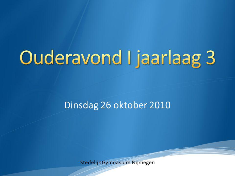 Dinsdag 26 oktober 2010 Stedelijk Gymnasium Nijmegen