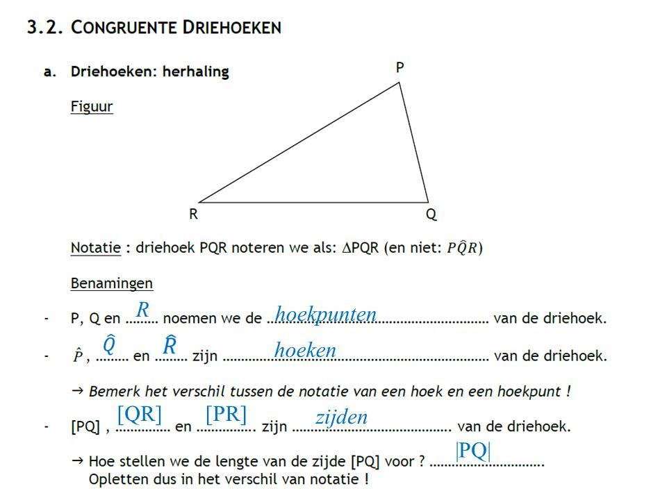 R hoekpunten hoeken [QR][PR] zijden |PQ|