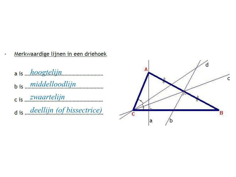 hoogtelijn middelloodlijn zwaartelijn deellijn (of bissectrice)