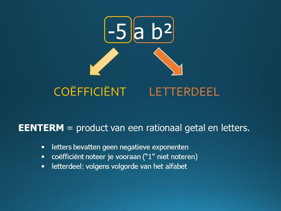 -5 a b² COËFFICIËNTLETTERDEEL EENTERM = product van een rationaal getal en letters.  letters bevatten geen negatieve exponenten  coëfficiënt noteer