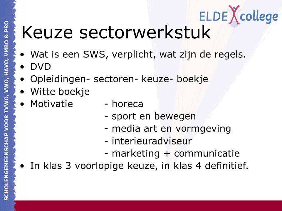 Keuze sectorwerkstuk Wat is een SWS, verplicht, wat zijn de regels. DVD Opleidingen- sectoren- keuze- boekje Witte boekje Motivatie- horeca - sport en