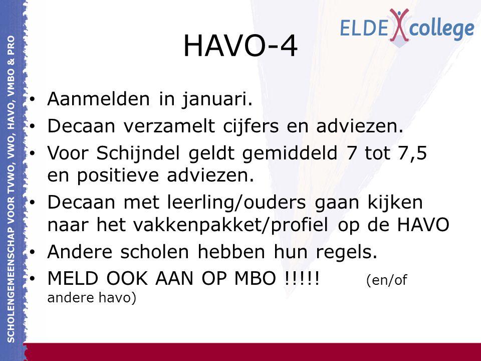 HAVO-4 Aanmelden in januari. Decaan verzamelt cijfers en adviezen. Voor Schijndel geldt gemiddeld 7 tot 7,5 en positieve adviezen. Decaan met leerling