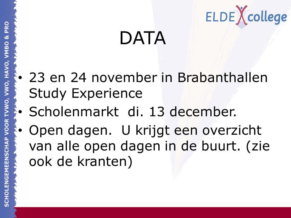 DATA 23 en 24 november in Brabanthallen Study Experience Scholenmarkt di. 13 december. Open dagen. U krijgt een overzicht van alle open dagen in de bu