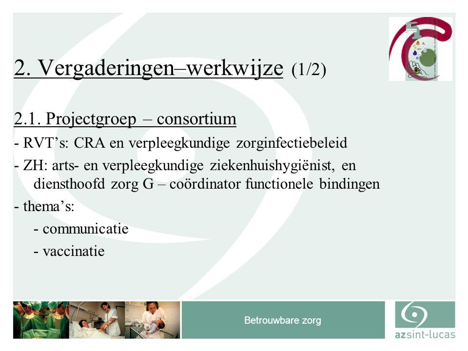 Betrouwbare zorg 2. Vergaderingen–werkwijze (1/2) 2.1. Projectgroep – consortium - RVT's: CRA en verpleegkundige zorginfectiebeleid - ZH: arts- en ver