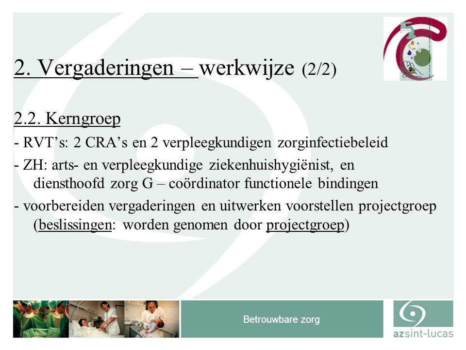 Betrouwbare zorg 2. Vergaderingen – werkwijze (2/2) 2.2. Kerngroep - RVT's: 2 CRA's en 2 verpleegkundigen zorginfectiebeleid - ZH: arts- en verpleegku