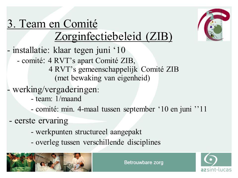 Betrouwbare zorg 3. Team en Comité Zorginfectiebeleid (ZIB) - installatie: klaar tegen juni '10 - comité : 4 RVT's apart Comité ZIB, 4 RVT's gemeensch