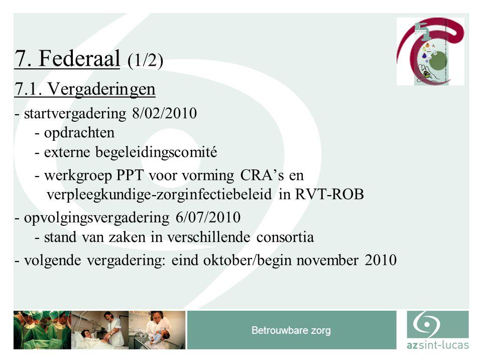 Betrouwbare zorg 7. Federaal (1/2) 7.1. Vergaderingen - startvergadering 8/02/2010 - opdrachten - externe begeleidingscomité - werkgroep PPT voor vorm