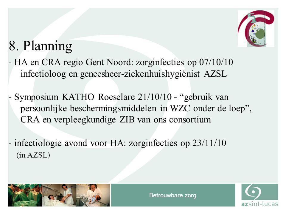 Betrouwbare zorg 8. Planning - HA en CRA regio Gent Noord: zorginfecties op 07/10/10 infectioloog en geneesheer-ziekenhuishygiënist AZSL - Symposium K