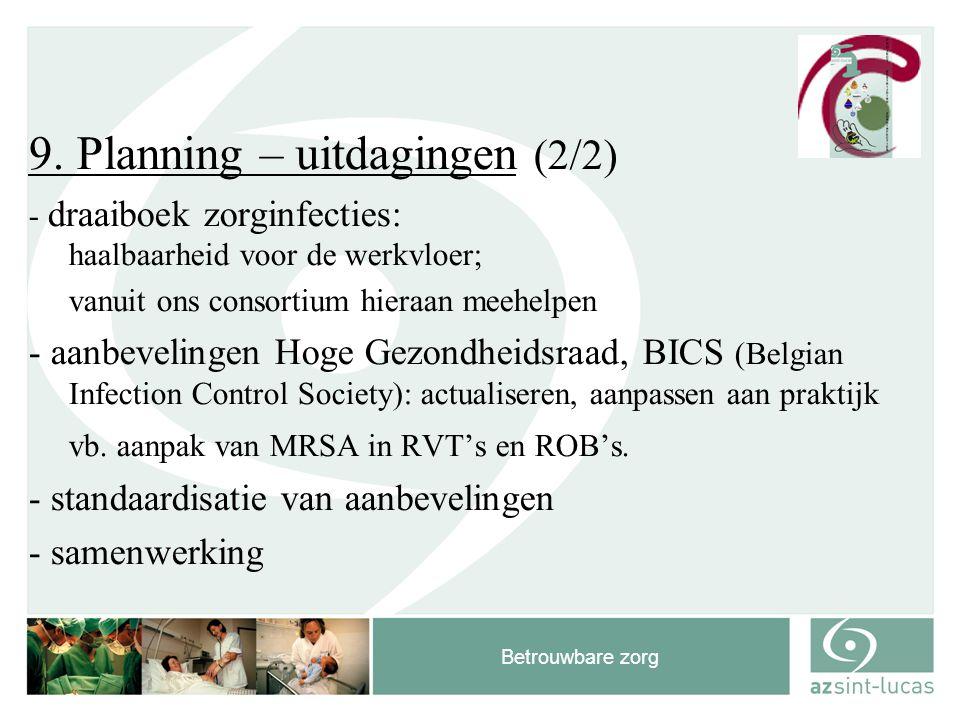 Betrouwbare zorg 9. Planning – uitdagingen (2/2) - draaiboek zorginfecties: haalbaarheid voor de werkvloer; vanuit ons consortium hieraan meehelpen -