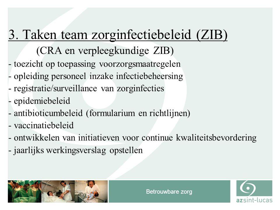 Betrouwbare zorg 3. Taken team zorginfectiebeleid (ZIB) (CRA en verpleegkundige ZIB) - toezicht op toepassing voorzorgsmaatregelen - opleiding persone
