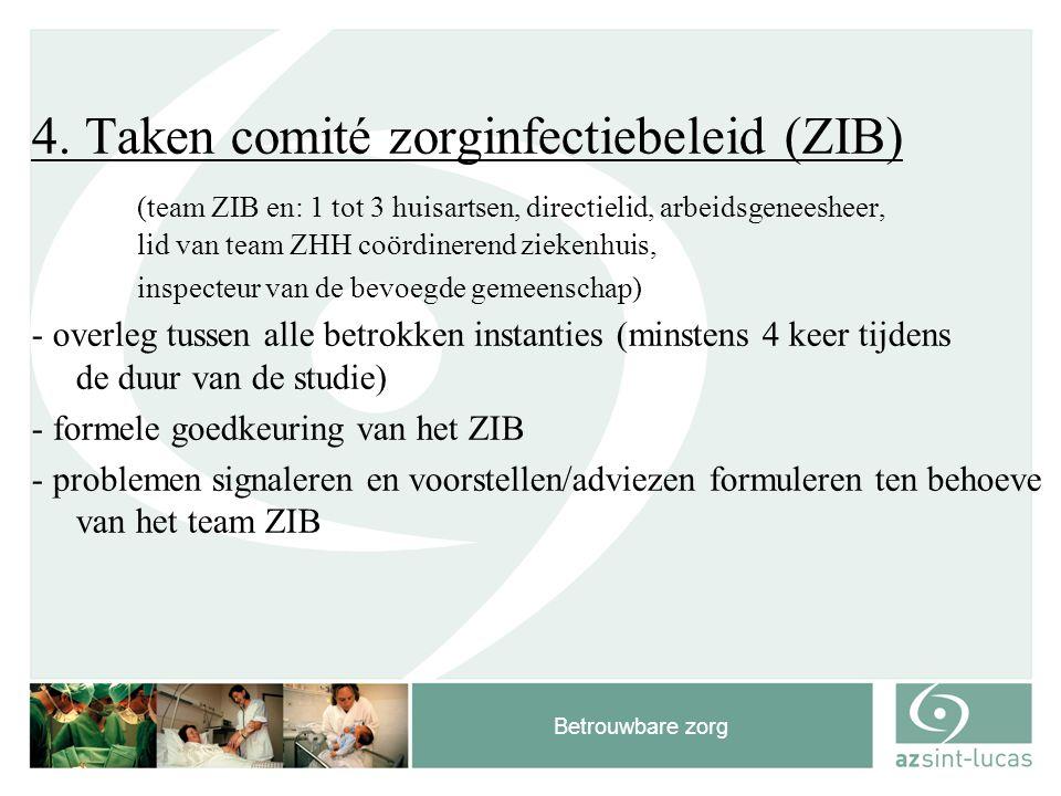 Betrouwbare zorg 4. Taken comité zorginfectiebeleid (ZIB) (team ZIB en: 1 tot 3 huisartsen, directielid, arbeidsgeneesheer, lid van team ZHH coördiner