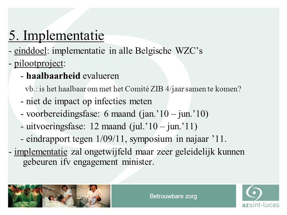 Betrouwbare zorg 5. Implementatie - einddoel: implementatie in alle Belgische WZC's - pilootproject: - haalbaarheid evalueren vb.: is het haalbaar om