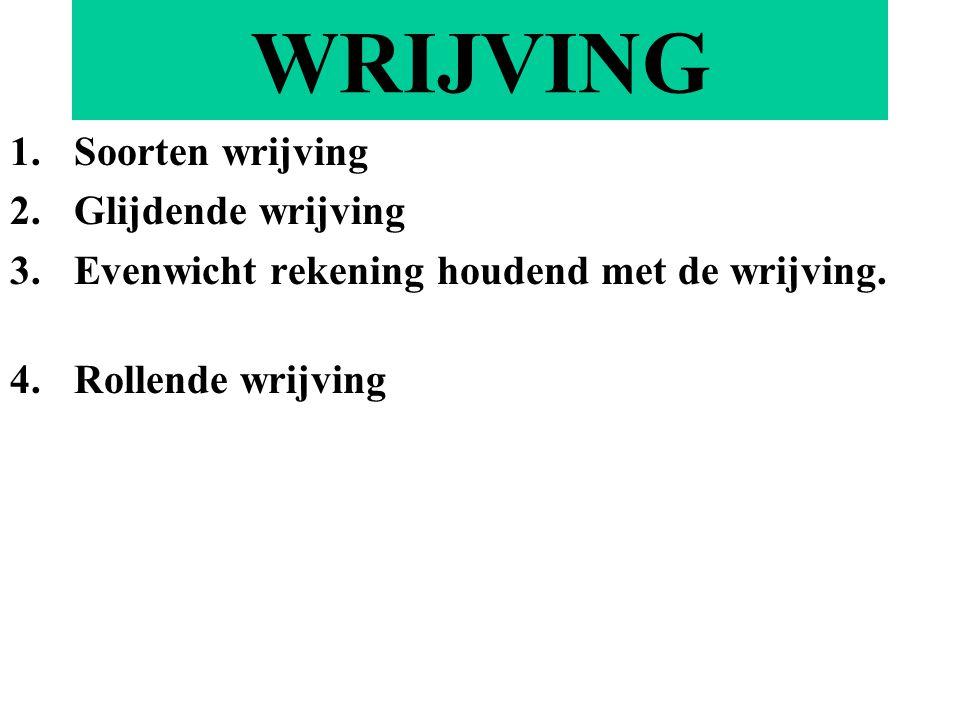 WRIJVING 1.Soorten wrijving 2.Glijdende wrijving 3.Evenwicht rekening houdend met de wrijving.