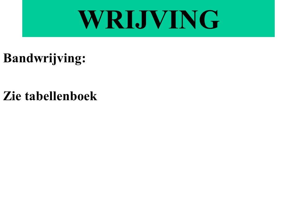 WRIJVING Bandwrijving: Zie tabellenboek