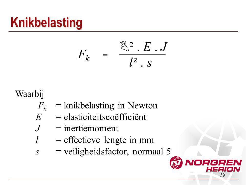 39 Knikbelasting Waarbij F k = knikbelasting in Newton E = elasticiteitscoëfficiënt J = inertiemoment l = effectieve lengte in mm s = veiligheidsfacto