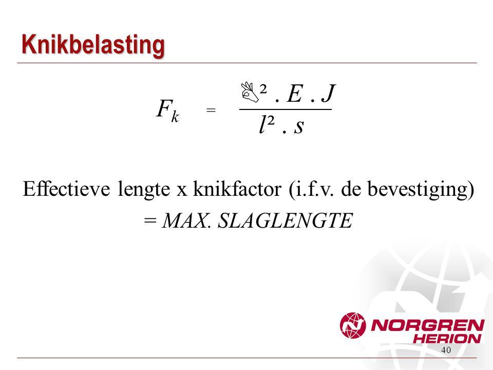 40 Effectieve lengte x knikfactor (i.f.v. de bevestiging) = MAX. SLAGLENGTE FkFk =  ². E. J l ². sKnikbelasting