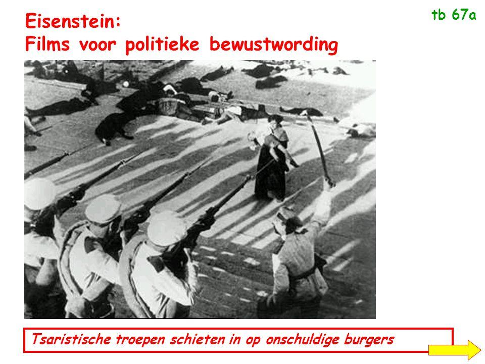 Eisenstein: Films voor politieke bewustwording Tsaristische troepen schieten in op onschuldige burgers Om de bevolking te mobiliseren.